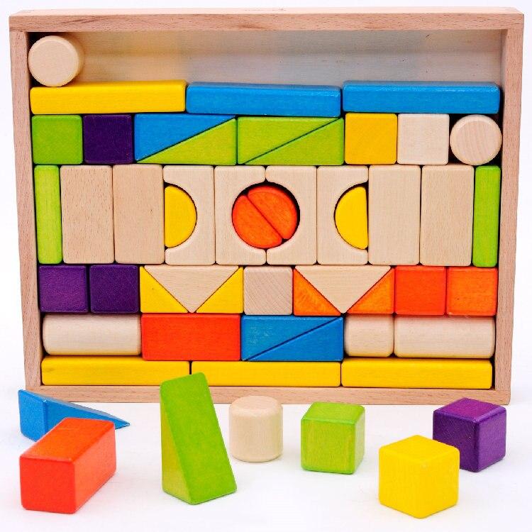 Hêtre 54 PCS couleur blocs de construction sûr respectueux de l'environnement non-toxique, cadeaux enfants 3-6 ans, enfants En Bois Blocs jouet