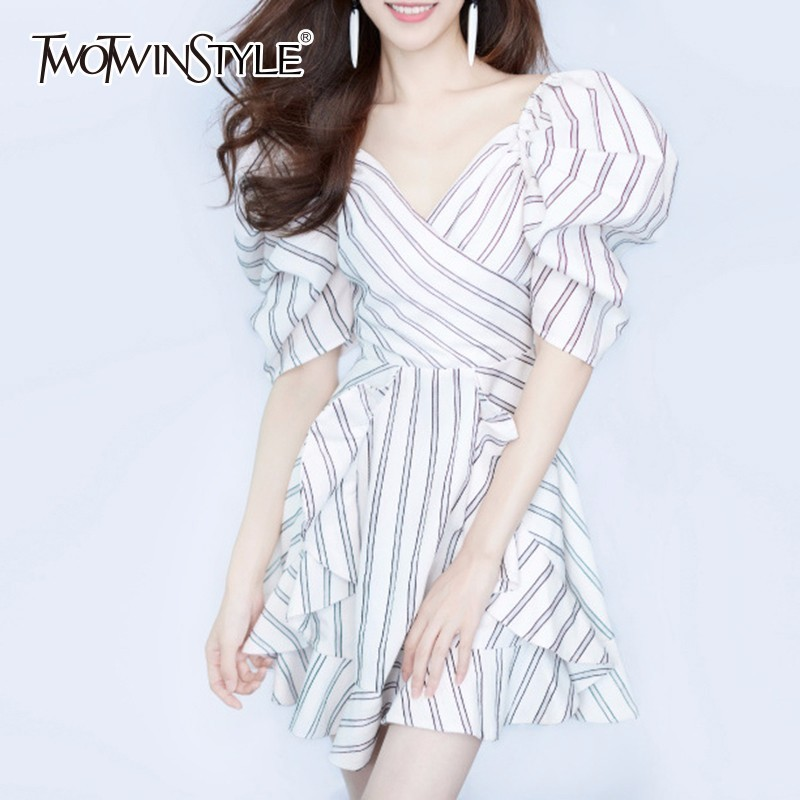 TWOTWINSTYLE Striped Dresses Summer 2019 V Neck Puff Sleeve Tunic High Waist Patchwork Ruffles A Line