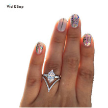 Купить с кэшбэком Visisap Olive Shinning Cubic Zirconia Rings for Women Gifts for Girl Ring Fashion Jewelry Wholesale Jewellery Dropshipping B2425