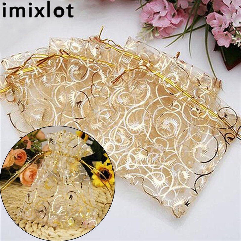 Imixlot 25Pcs High-end Custom Organza Gift Bag Pure Color Yarn Transparent Bag Wedding Jewelry Pouches Gift Bag