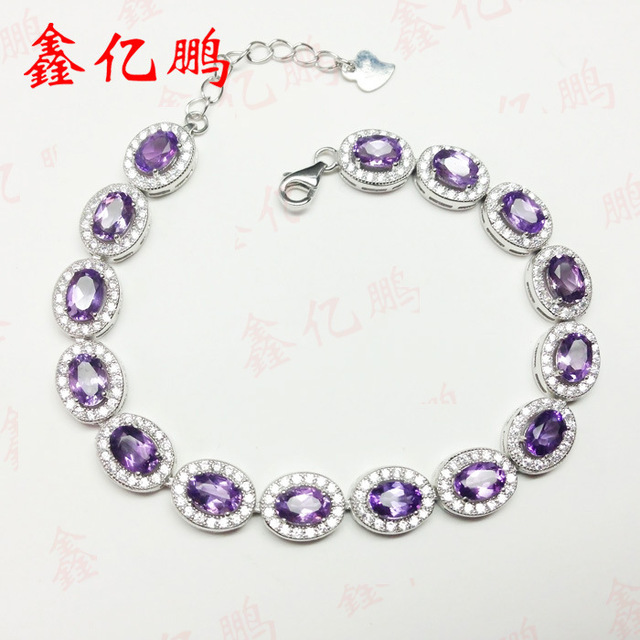 925 silver inlay Natural Amethyst Bracelet