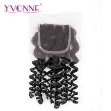 YVONNE Italian Curly Brazilian Virgin Human Hair 4×4 Free Part Lace Closure Natural Color Free Shipping