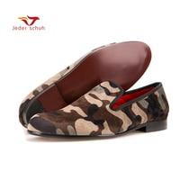 Для мужчин Лоферы ручной работы Для мужчин армия зеленый камуфляж Лоферы Военный стиль повседневная обувь модные вечерние слипперы