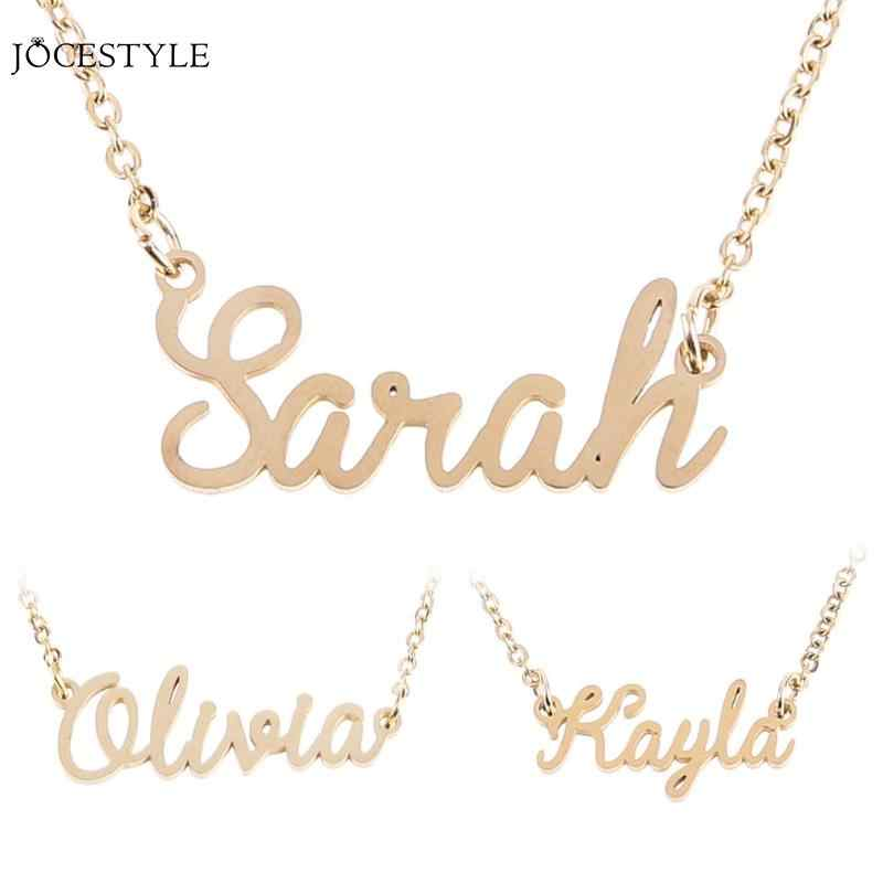 Fashion Letter Name Pendant Necklace Chain Unisex Name Collar Chain Nameplate Pendant Necklace Gift Nameplate Dropshipping