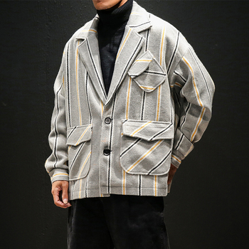 Very Good Quality Striped Men Trench 5XL 2019 Winter Big Size Men Hip Hop Coats Overcoat Boys Streetwear for Youth Khaki#3113