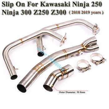 Motorcycle Exhaust For Kawasaki Ninja 250 Ninja 300 Z250  Z300 2018 2019 Modified Front Connection Mid Link Pipe Without Muffler