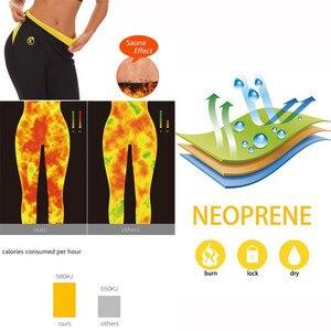 Image 3 - Ningmi スリムパンツおなかコントロールパンティー痩身ショートネオプレン汗ボディシェイパーワークアウトウエストトレーナーバットリフタータイトカプリパンツ