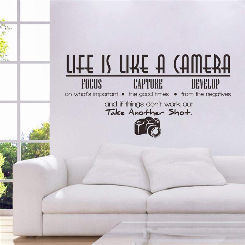 % Life Is Like A Camera Quotes Wall Stickers Living Room Decoration  Adesivos De Paredes Proverb Home Decals Mural Art Poster In Wall Stickers  From Home ... Part 48