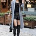 2016 Женщины Новый Стиль Моды Сплошной Цвет Зима Длинный Вязаный Пальто Свитер Кардиган