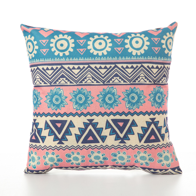 Natural Linen Cushion Cover with Geometric Print