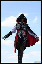 Assassin II Ezio Black Creed Edition Uniform Suit Halloween Men and women Cosplay Costume with gloves and shoe covers