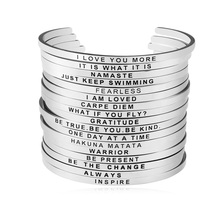 Carvort Women Stainless Steel Bangle Inspirational Personalized Bracelets Custom Silver Mantra Cuff Band Jewelry Gift for