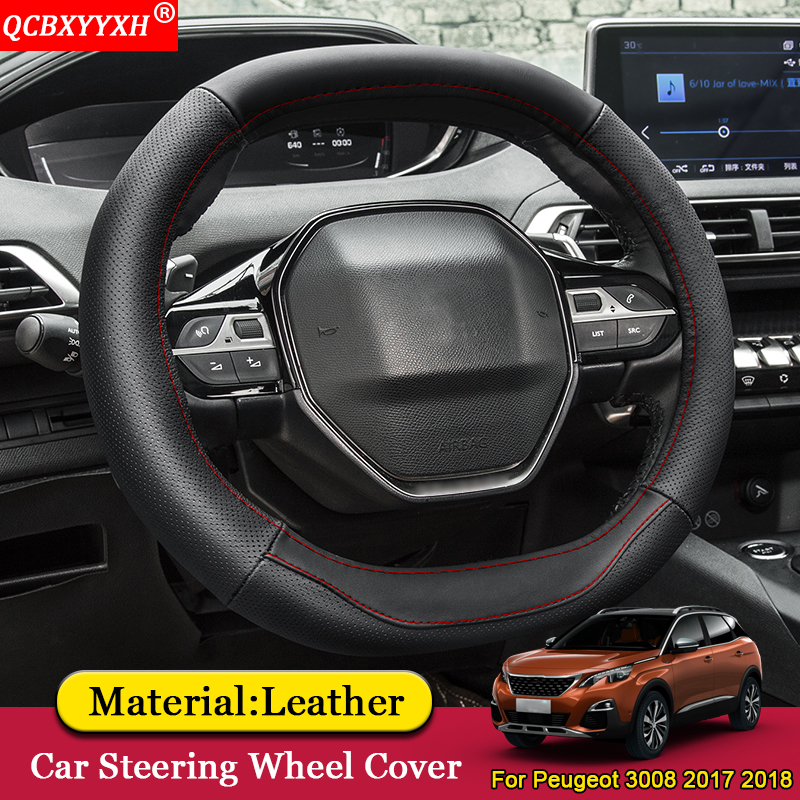 QCBXYYXH Car Styling Car Steering Wheel Covers Leather Steering wheel Interior Accessories For Peugeot 3008 4008 5008 2017 2018-in Steering Covers from Automobiles & Motorcycles    1