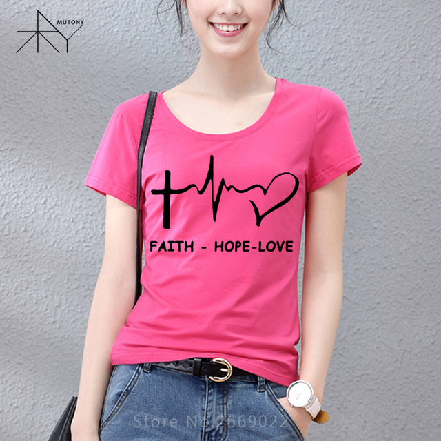 ed34e947f898 New Summer Style Faith Hope Love Christian T-shirt Funny christianity god  Girls Gift T Shirt Woman Casual Short Sleeve Top Tees
