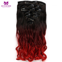 Neverland 7pcs/sets 16Clips long Wavy Synthetic Hair Pieces Wine Red Ombre Clip-in Full Head Hair Extensions Free Ship