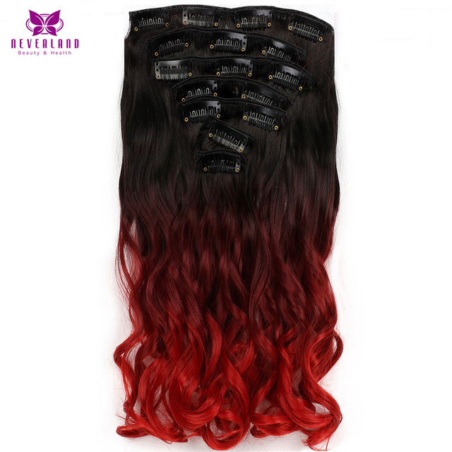Neverland 7pcssets 16clips Long Wavy Synthetic Hair Pieces Wine Red