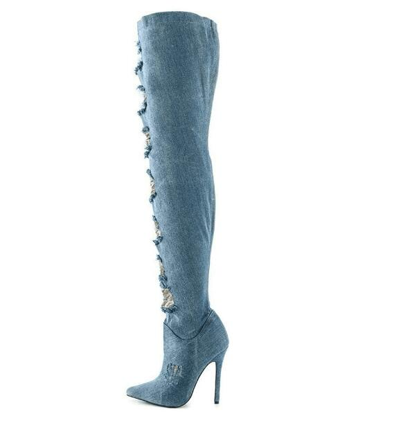 newest woman sexy boots denim blue lace cut-outs over the knee boots thin heels jeans boots thigh high boots choudory 2017 runway denim blue over the knee boots sexy open toe high heel boots woman thigh high boots thin heels jeans boots