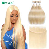 Virgo 613 Bundles with Frontal Blonde Straight Hair Brazilian Hair Weave Human Hair Bundles with Closure Remy Free Shipping