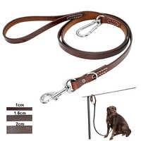 Correa de cuero para perro Pitbull correa de perro grande duradera con hebilla de Montañismo correas para mascotas al aire libre para perros medianos y grandes