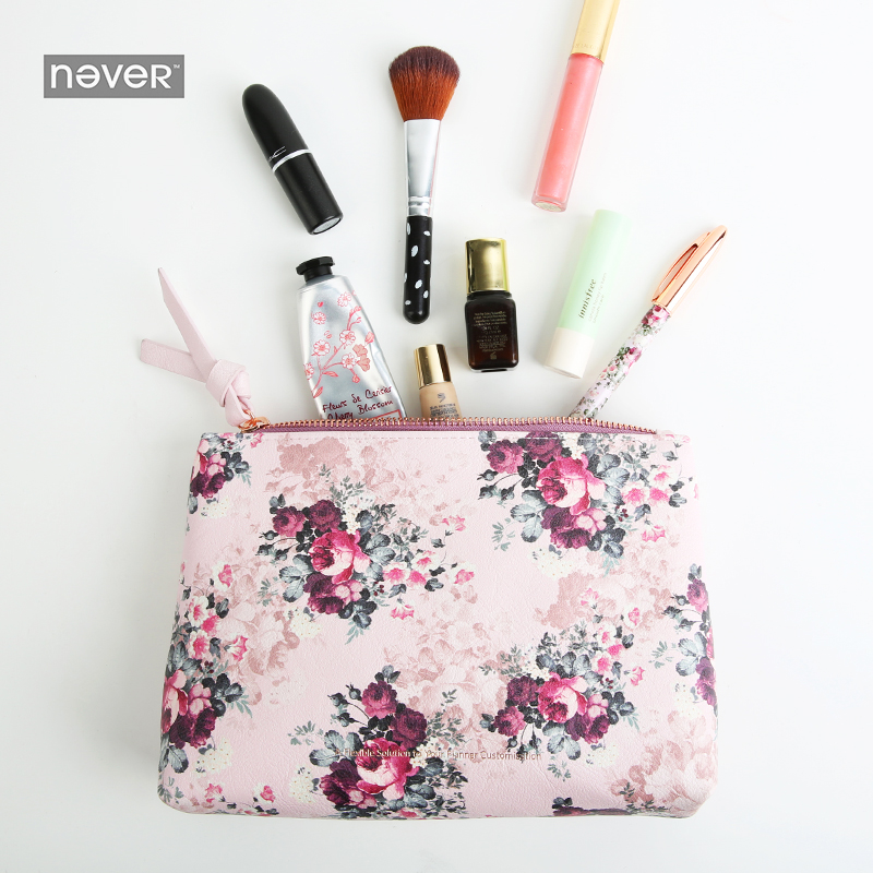 NEVER Rose Series pencil Case pencil bag makeup Cosmetic Bag Chancellory school supply 2018 creative gift stationery storage bag j26 kawaii cute moomin canvas pen bag pencil holder storage case school supply birthday gift cosmetic makeup travel