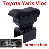 For Toyota Yaris armrest box Vios armrest box central Store content box with cup holder ashtray Generic model
