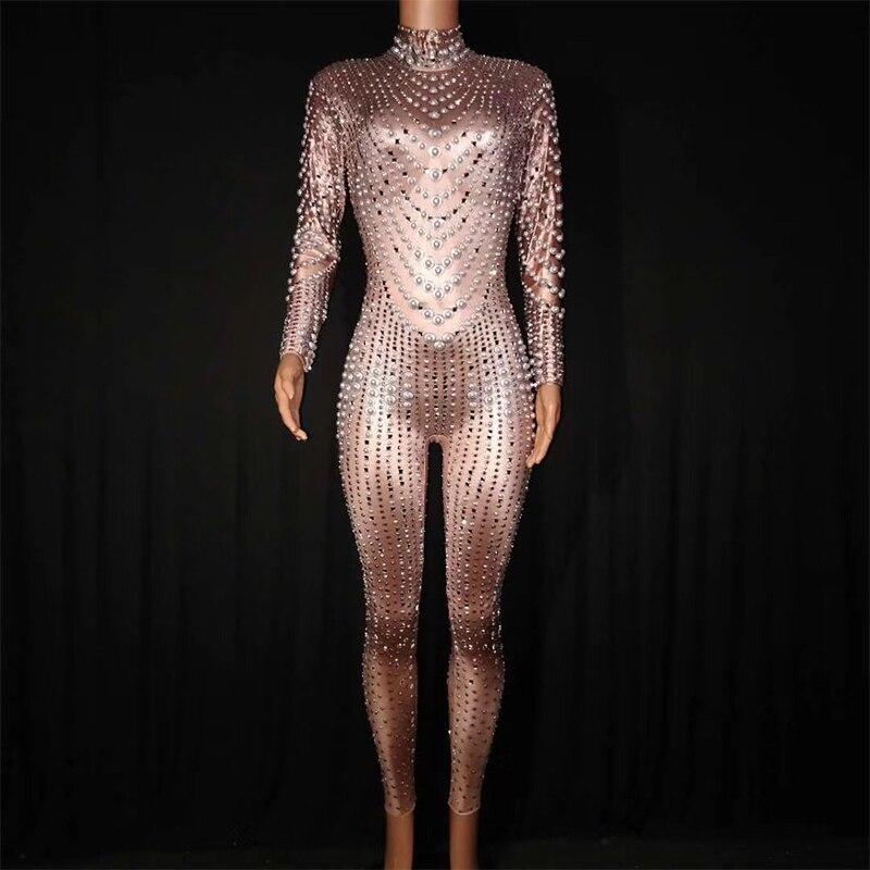 Яркими кристаллами Комбинезоны для ночных клубов пикантные Стразы Панорамное боди сценическая танцевальная одежда праздновать мода костю