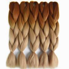 Feilimei High Temperature Fiber Jumbo Braids 24 60cm Ombre Blonde Braiding Hair Bulk Bundles Synthetic Crochet