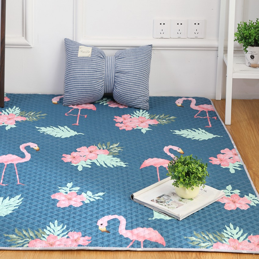 INS motif flamant populaire matelassé 100% grande taille coton tapis de sol environnemental pour salon, tapis de yoga, tapis d'éveil bébé