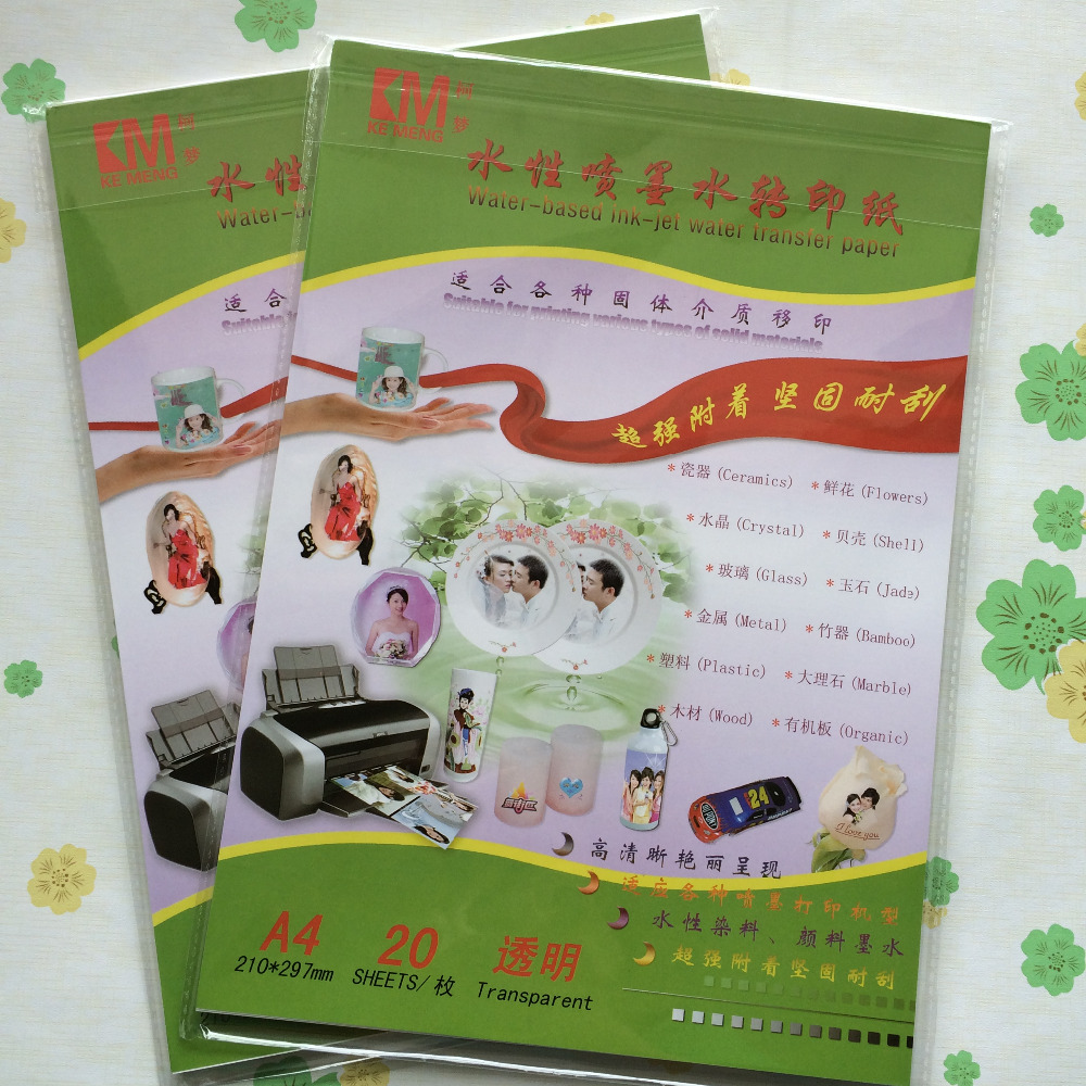 Color printing paper - Color Inkjet Clear Transparent Water Slide Decal Transfer Printing Paper A4 20 Pieces
