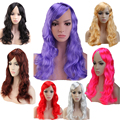 "19"" 48cm Women Long Curly Wavy Black Brown Blonde Pink Purple Red Anime Party Cosplay Wig Synthetic Heat Resistant 10 Colors"