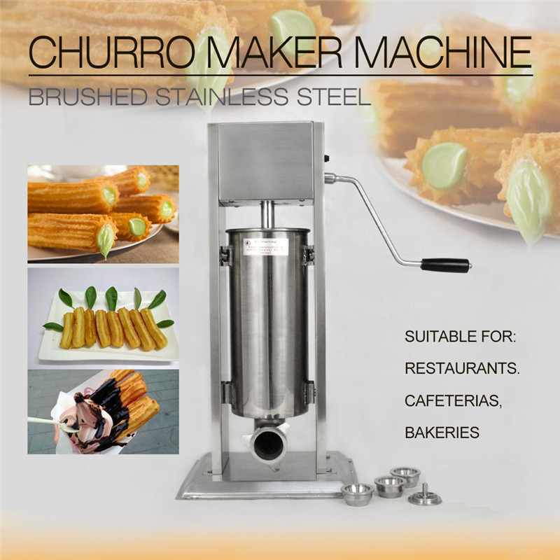 3L/5L Silver Stainless Steel Manual Spanish Donuts Churrera Churro Maker Frying Machine Filler With 4Pcs Nozzles Easy To Operate цена и фото