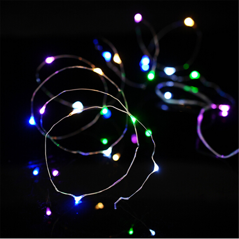 2PCS//1PC 20 LED Bead Button Cell Powered Silver Copper Wire Fairy String Lights