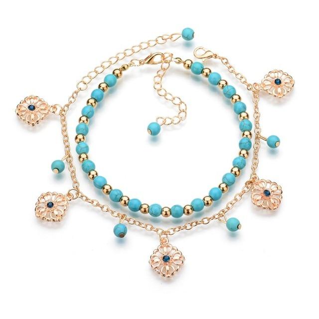 MissCyCy 2016 Lucky Kabbalah Fatima Hamsa Hand Blue Flowers Foot Jewelry Double Beads Turkish Ankle Bracelet For Women Anklet 1