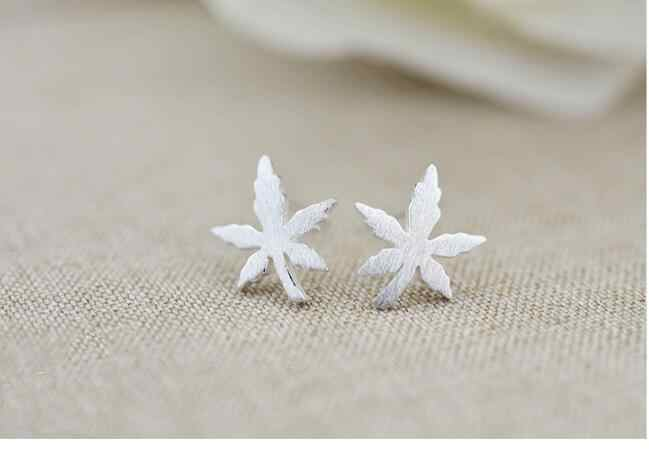 2018 Fashion 100% 925 Sterling Silver Jewelry Maple Leaves Stud Earrings For Women Sterling-Silver-Jewelry EH546