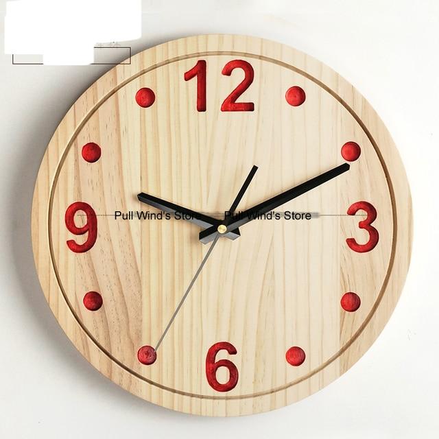 Mode Kurze Pastoralen Rund Holz Wanduhr Personalisierte Holz Digital Home  Wanduhr Wohnzimmer Uhren