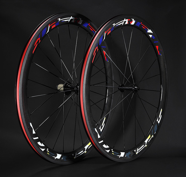 Cheap 700C 23mm depth 50mm carbon road bike wheels clincher bicycle wheelset black cycling wheels with Novatec 271 hub  free shipping