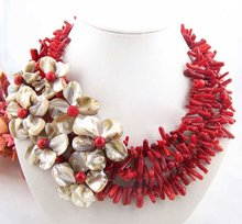 Flower!!natural coral&ahell pearl neckalce/earring set