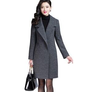 Image 1 - VogorSean Donna Autunno Inverno Cappotto Caldo Misto Lana Lungo Cappotto di Cachemire Femminile Cappotti Europeo Rivestimento di Modo Outwear Plus Size