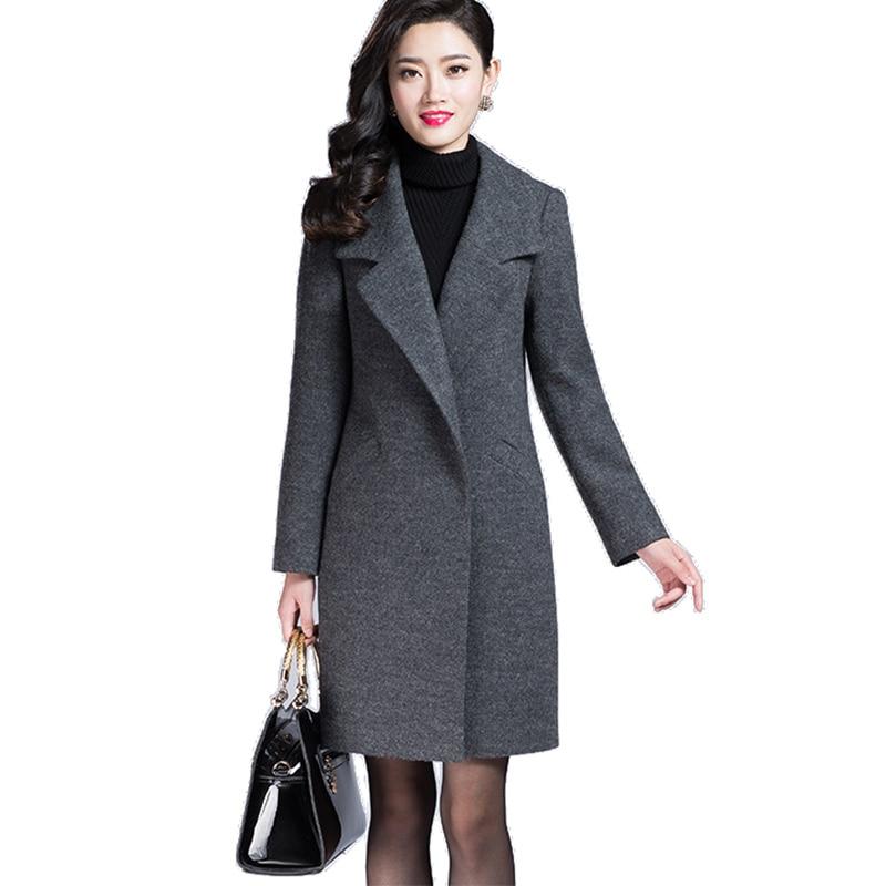 VogorSean Women Autumn Winter Coat Warm Wool Blends Coat Long Cashmere Female Coats European Fashion Jacket Outwear Plus Size