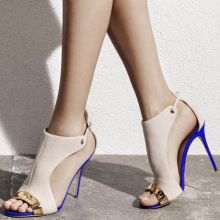 shofoo shoes,New fashion free shipping, beige suede, blue and orange in the bottom, stiletto sandals sandals. SIZE:34-45
