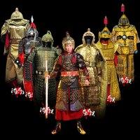 Китайский древний общий воин наряд корселет brace шлем Древний китайский армейский костюм броня Косплей фильм одежда с ТВ героями Броня