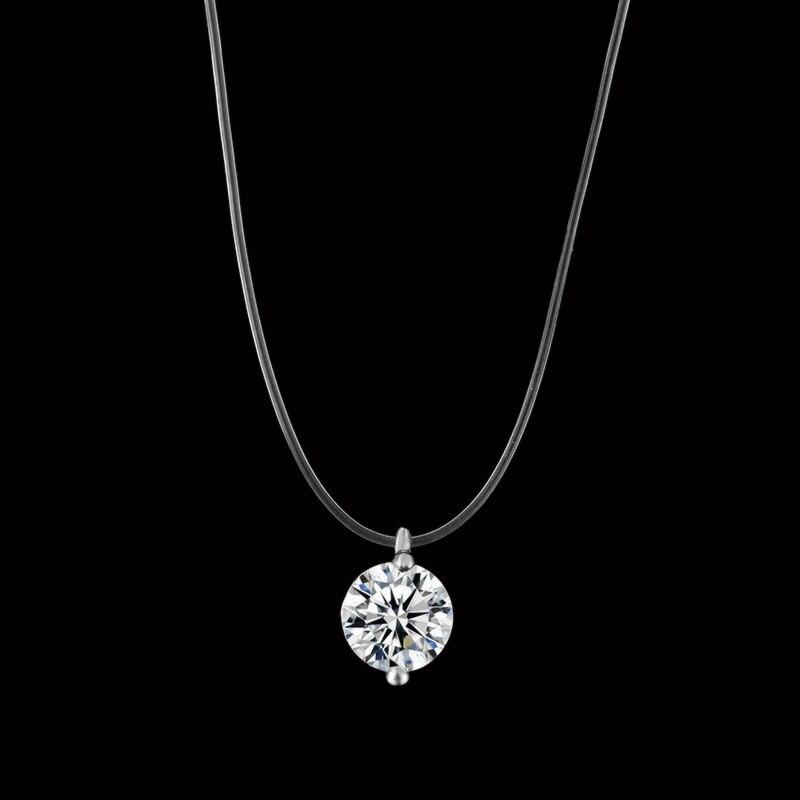 2018 nova sereia lágrima colar meteorito pingente transparente linha de pesca invisível feminino colar jóias clavícula corrente