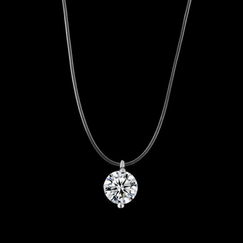 2019 nueva sirena collar en forma de lágrima meteorito colgante transparente línea de pesca Invisible de las mujeres collar de la joyería Cadena de clavícula