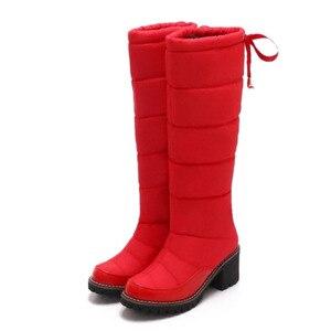 Image 5 - Taoffen 여성 겨울 무릎 높은 부츠 여성을위한 따뜻한 코 튼 신발 봉 제 모피 두꺼운 뒤꿈치 부츠 레이스 업 플랫폼 신발 크기 34 42