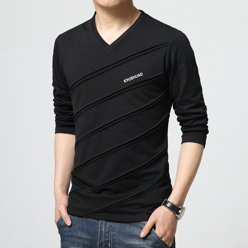 2017 fashion trend autumn t shirt men v collar long sleeve for Large shirt neck size