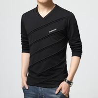 2016 Fashion Trend Autumn T Shirt Men V Collar Long Sleeve T Shirt Large Size Slim