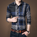 Plus Size Shirts New 2016 Spring Casual Men Shirt Cotton Mens Dress Shirt Slim Fit Plaid Shirt Long sleeve Camisas