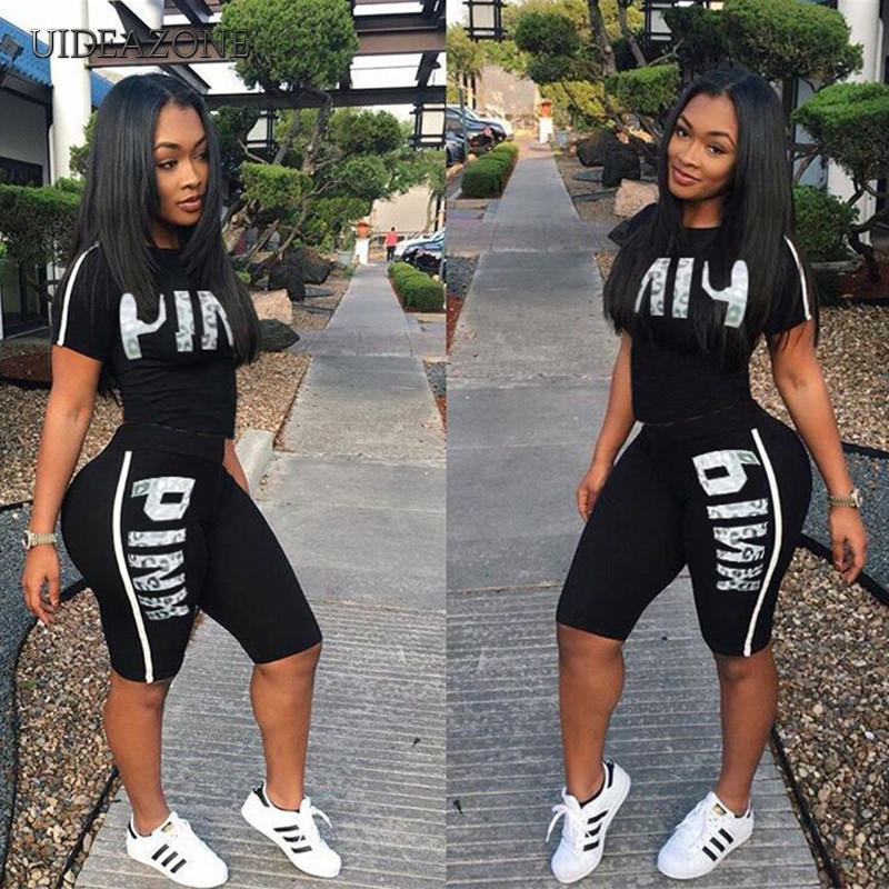 Casual Pink Letter Print Women Two Piece Set 2019 New Summer Rompers Sexy Striped T-Shirts And Skinny Pants 2pcs Outfits(China)