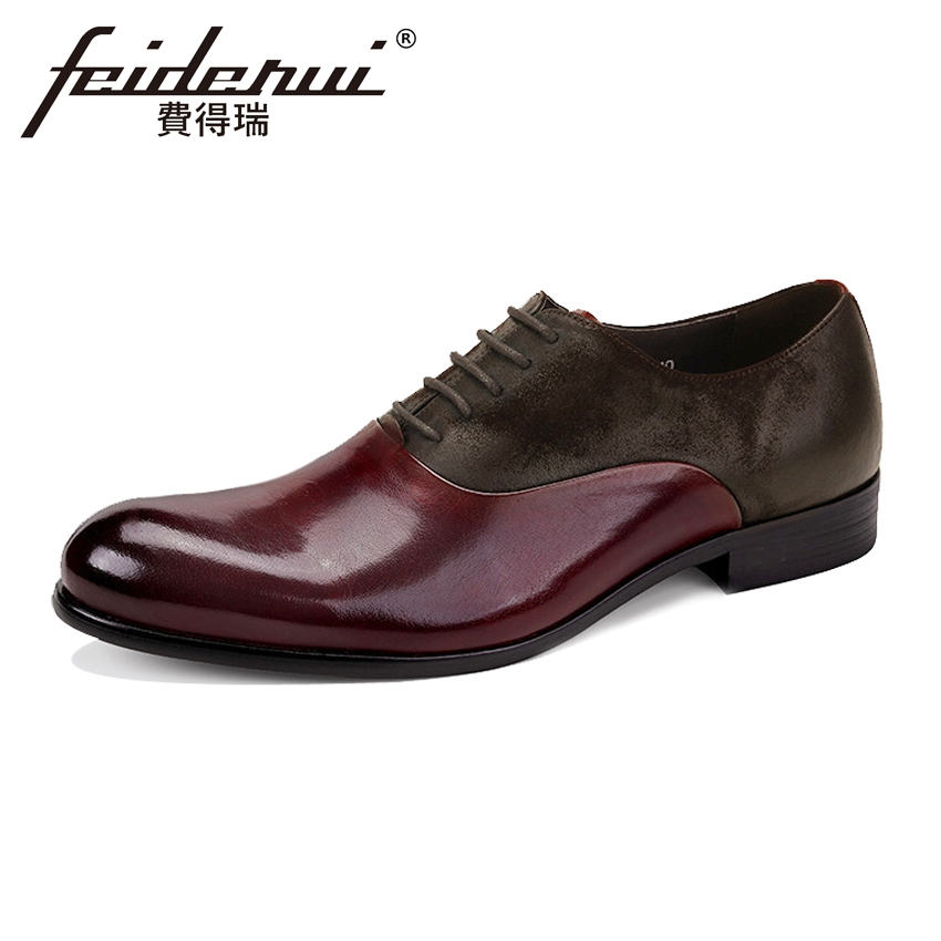 New Formal Dress Genuine Leather Mens Oxfords Round Toe Handmade Cow Suede Party Flats British Style Office Shoes For Man ASD83