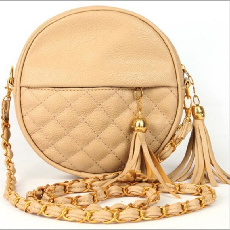 Women Tassel fashion single shoulder mini Wild travel Crossbody Chain Circle Small Messenger Handbag Purses evening Diagonal bag